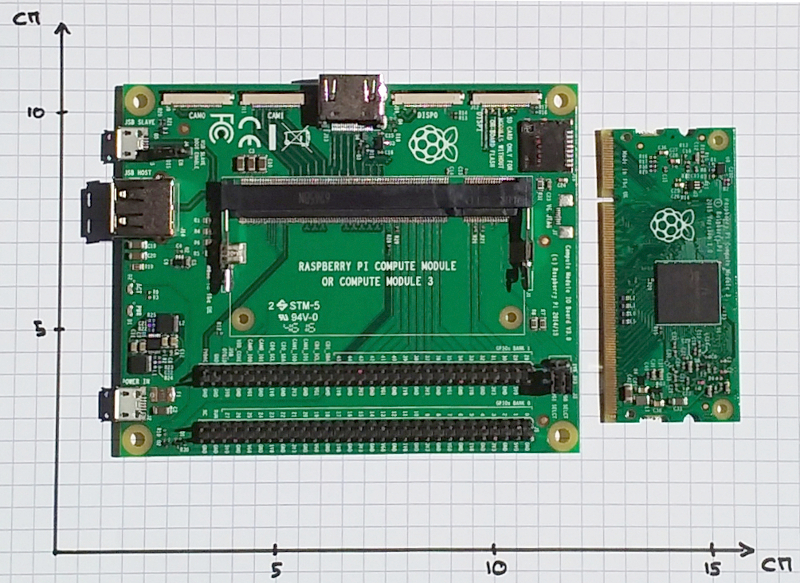 Compute Module IO Board V3 (left) and Pi CM3 (right)